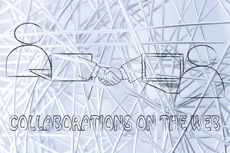 collaborations: collaborations on the web: users virtually shaking hands through the web Stock Photo