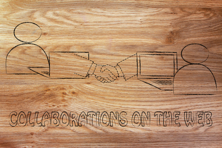 collaborations on the web: users virtually shaking hands through the web Stock Photo