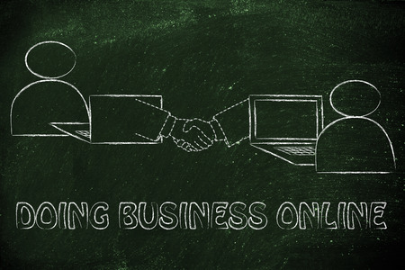 doing business: doing business online: users virtually shaking hands through the web