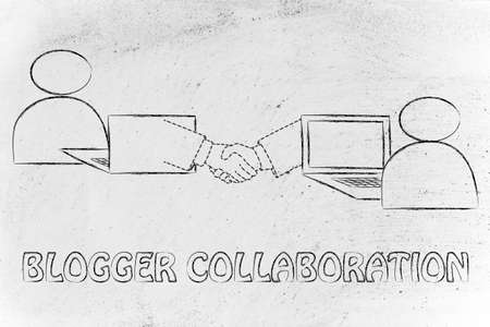 blogger collaborations: users virtually shaking hands through the web Stock Photo