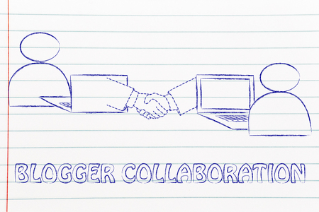 collaborations: blogger collaborations: users virtually shaking hands through the web Stock Photo