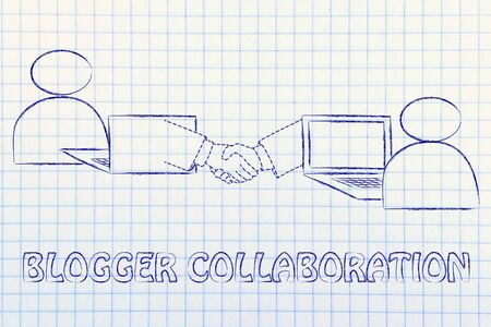 blogger: blogger collaborations: users virtually shaking hands through the web Stock Photo