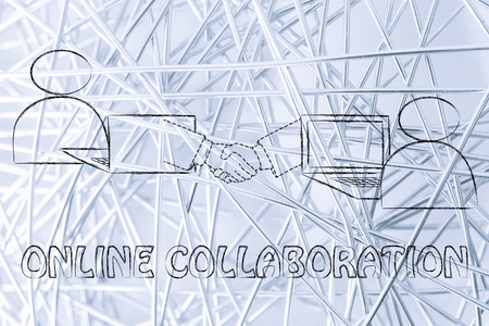 collaborations: online collaborations: users virtually shaking hands through the web