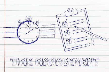 gestion du temps: le chronomètre et la liste de tâche terminée Banque d'images