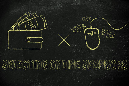 sponsors: concept of selecting online sponsors: wallet with money and computer mouse Stock Photo