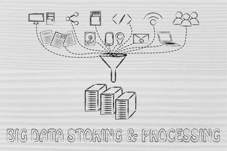 geotag: concept of big data processing and storage: users, devices and file transfers Stock Photo