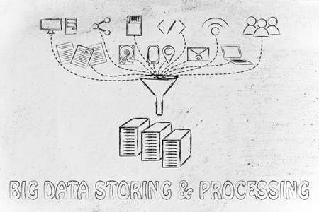 transfers: concept of big data processing and storage: users, devices and file transfers Stock Photo