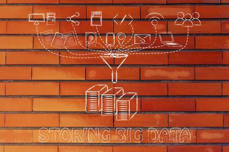 traslados: concept of big data storage: users, devices and file transfers Foto de archivo