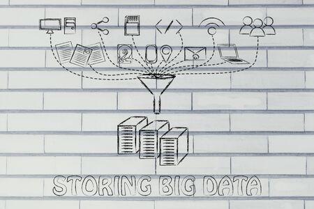 traslados: concepto de almacenamiento de datos grandes: los usuarios, los dispositivos y las transferencias de archivos Foto de archivo