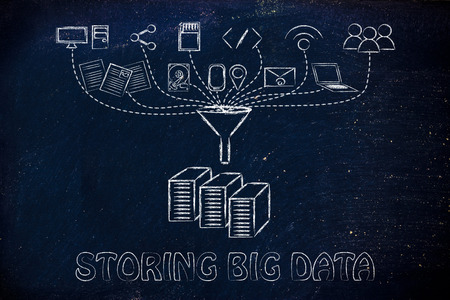 geotag: concept of big data storage: users, devices and file transfers Stock Photo