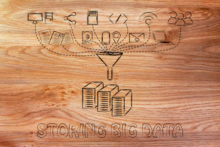 transfers: concept of big data storage: users, devices and file transfers Stock Photo