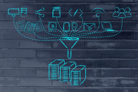 Het concept van big data verwerking en overdracht: gebruikers, apparaten en opslag van bestanden Stockfoto