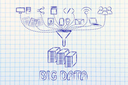 geotag: concept of big data processing and transfers: users, devices and file storage