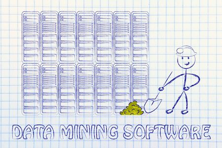 extracting: data mining software: metaphor of man extracting gold nuggets in a server room Stock Photo