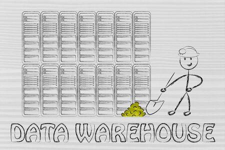 data warehouse: almacenamiento de datos y la miner�a: la met�fora de las pepitas de oro hombre extracci�n en una sala de servidores, s�mbolo de datos valiosos Foto de archivo
