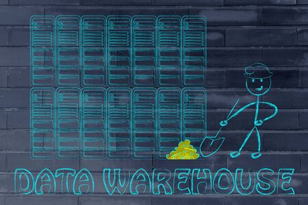 data warehouse: data warehouse and mining: metaphor of man extracting gold nuggets in a server room, symbol of valuable data Stock Photo