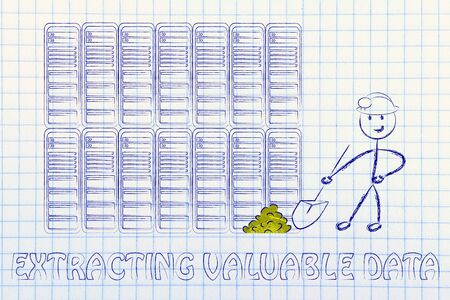valuable: extracting valuable data: metaphor of man digging for gold nuggets in a server room, symbol of valuable data