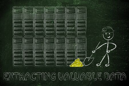 extracting: extracting valuable data: metaphor of man digging for gold nuggets in a server room, symbol of valuable data