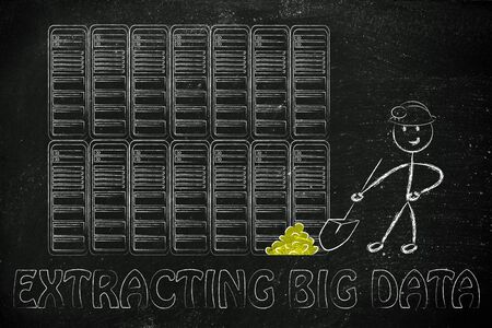 extracting: extracting big data: metaphor of man digging for gold nuggets in a server room, symbol of valuable data