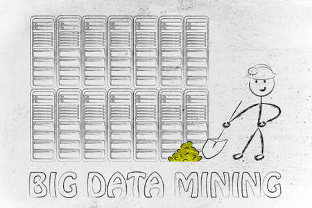 extracting: big data mining: metaphor of man extracting gold nuggets in a server room, symbol of valuable data