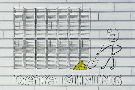 extracting: data mining: metaphor of man extracting gold nuggets in a server room, symbol of valuable data