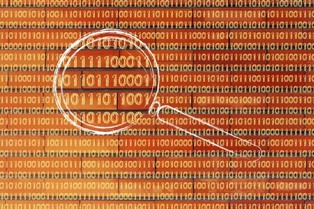 big data and pattern recognition: magnifying glass focusing on binary code