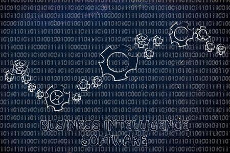 business intelligence: business intelligence software: gearwheels metaphorically setting up a binary code Stock Photo