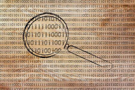 reconocimiento: grandes datos y reconocimiento de patrones: lupa centr�ndose en c�digo binario Foto de archivo