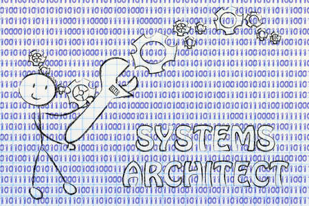 frontend: being a systems architect: man fixing binary code with a wrench