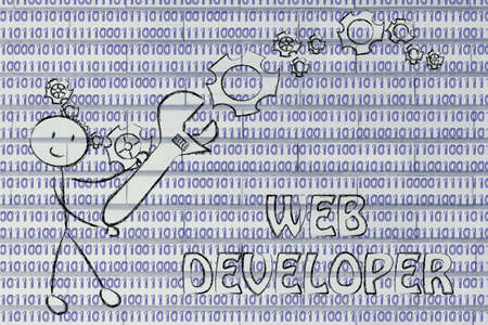 web developer: being a web developer: man fixing binary code with a wrench