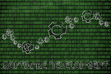 information extraction: software development: gearwheels metaphorically setting up a binary code