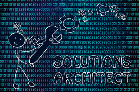 setup man: being a solution architect: man fixing binary code with a wrench