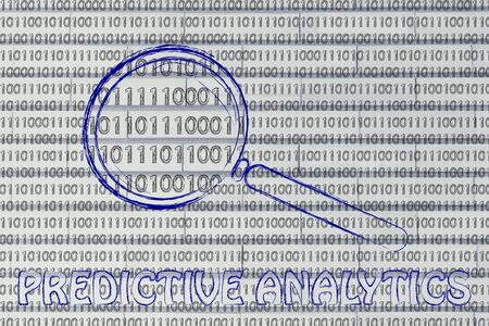 predictive: big data and predictive analytics: magnifying glass focusing on binary code
