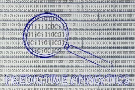 predictive: grandi dati e analisi predittiva: lente di ingrandimento concentrandosi sul codice binario