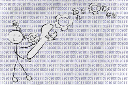 information technology: concept of information technology professions: man fixing binary code with a wrench Stock Photo