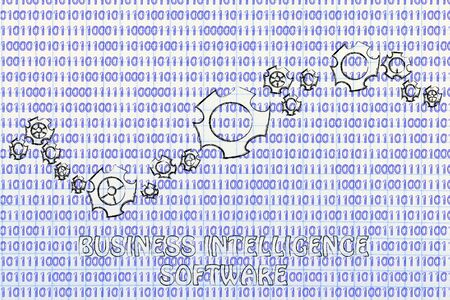 predictive: business intelligence software: gearwheels metaphorically setting up a binary code Stock Photo