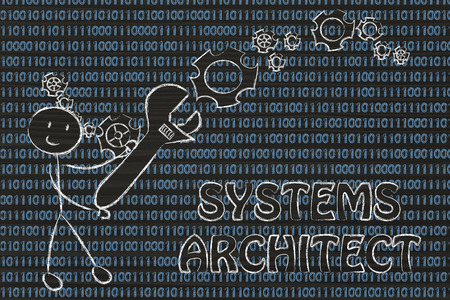 setup man: being a systems architect: man fixing binary code with a wrench