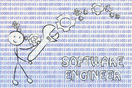 setup man: being a software engineer: man fixing binary code with a wrench Stock Photo