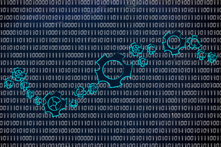 information extraction: business intelligence software: gearwheels metaphorically setting up a binary code Stock Photo