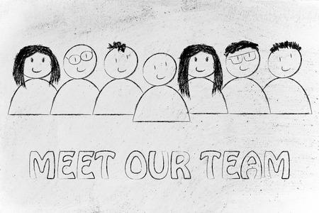 Grupo de personas que expresan la felicidad y la diversidad, conocer a nuestro equipo Foto de archivo - 41336551
