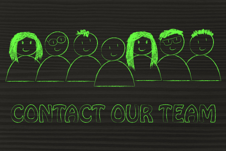 幸福と多様性を表現する人々 のグループ私たちのチーム (顧客サービス概念) にお問い合わせください