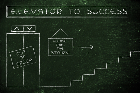 out of order: concept of success requiring time and effort: out of order elevator, you gotta take the stairs