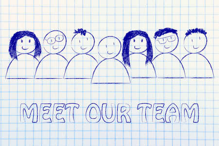 our team: group of people expressing happiness and diversity, meet our team
