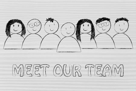 행복과 다양성을 표현하는 사람들의 그룹, 우리 팀을 만나