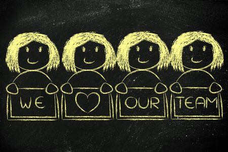 employee satisfaction: we heart our team: happy group of women collaborating
