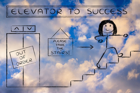 out of order: concept of success requiring time and effort: out of order elevator, you gotta take the stairs (woman version)