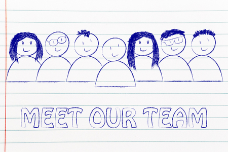 expressing: group of people expressing happiness and diversity, meet our team