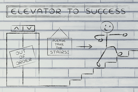 out of order: concept of success requiring time and effort: out of order elevator, you gotta take the stairs (man version)