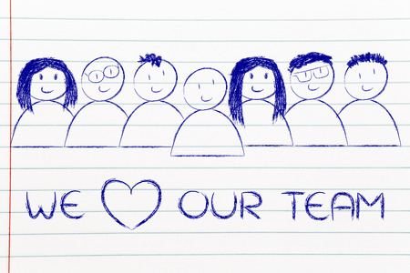 our people: we heart our team: happy group of people Stock Photo