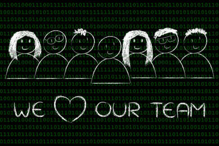 competitive advantage: we heart our team: happy group of people Stock Photo
